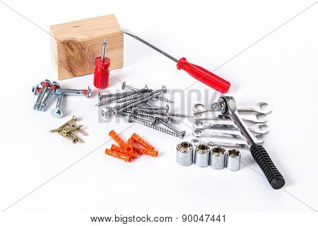 Set Of Screws And Working Tools