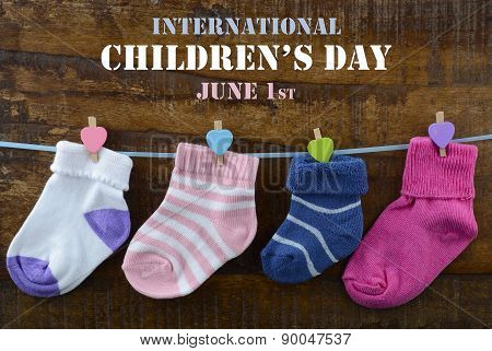 Happy Childrens Day Concept With Childrens Socks