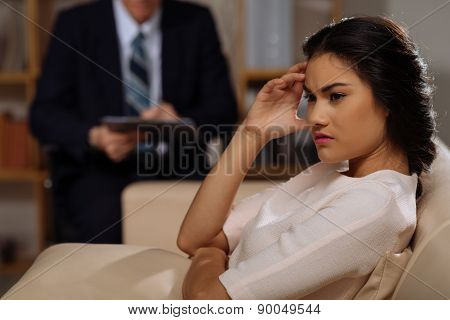 Beautiful depressed woman