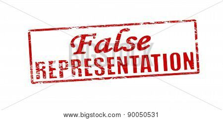 Rubber stamp with text false representation inside vector illustration