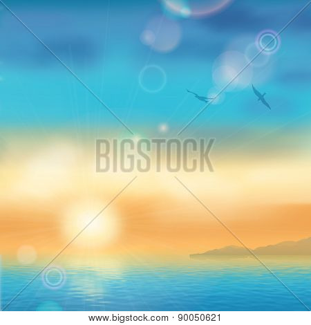 Sunset Seaside Background