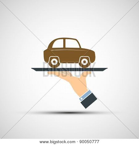 Hand Holding A Tray With A Car.