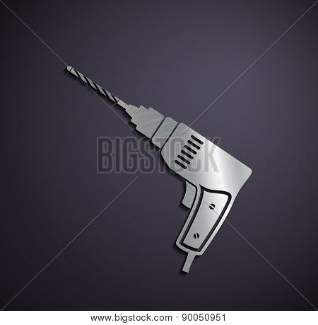 Flat Metallic Icon Electric Drill.