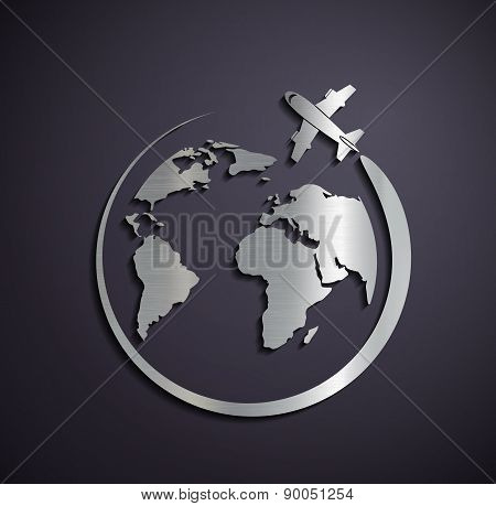 Flat Metallic Icon Of The Aircraft And The Planet Earth.
