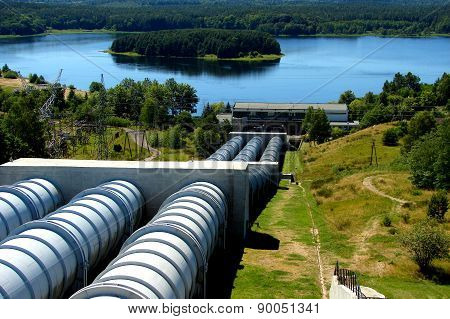 Pumped-Storage Power Station and Lake Kwiecko in Zydowo in Poland