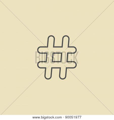outline black hashtag icon isolated on dark yellow background