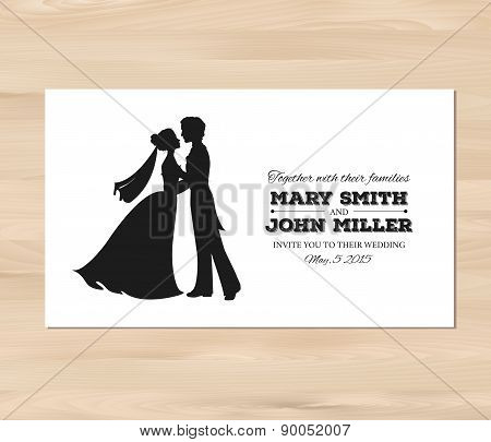 Vector wedding invitation with profile silhouettes of bride and