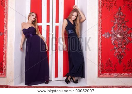 Charming Hot Woman In Cocktail Dresses On Sill Retro Interior