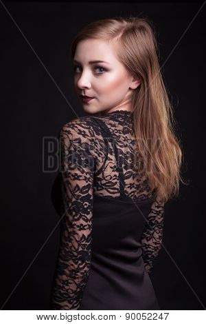 Beautiful Girl Looking Throu Her Shoulder On Camera