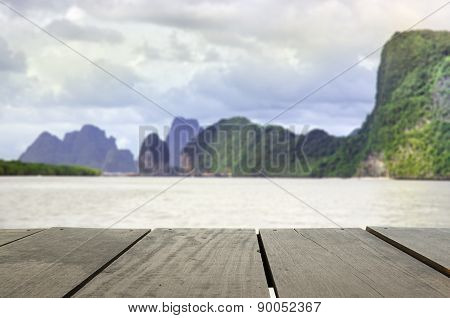 Defocus And Blur Image Of Terrace Wood And Beautiful Seascape Mi