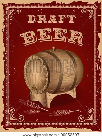 Beer Poster With A Wooden Barrel