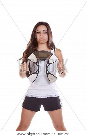 Woman Holding Scales Mad