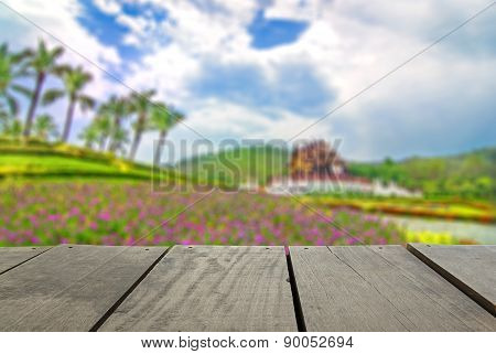 Defocused And Blur Image Of Terrace Wood And Royal Flora For Bac