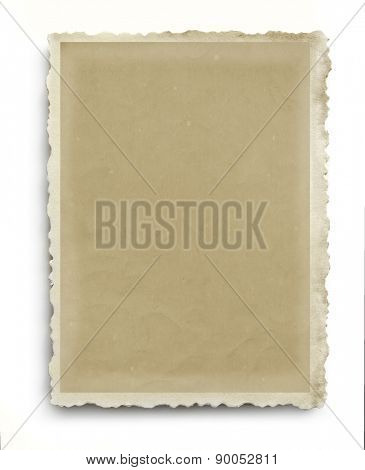 Vintage photo frame with scalloped edges, isolated on white with soft shadow.