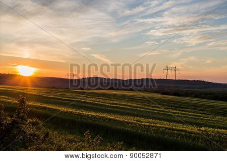 Sunset Over The Countryside Landscape