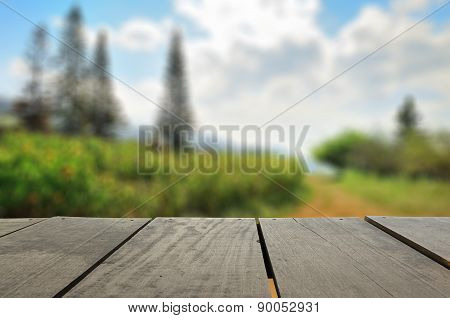 Defocused And Blur Image Of Terrace Wood And Beautiful Garden Pa