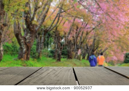 Defocused And Blur Image Of Terrace Wood And Beautiful Garden