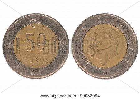 50 Turkish Kurus Coin
