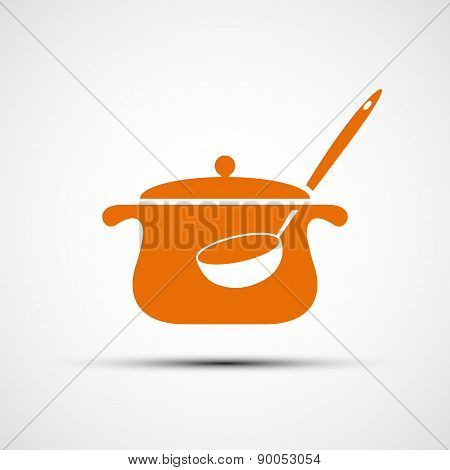 Icon Pan With A Ladle.