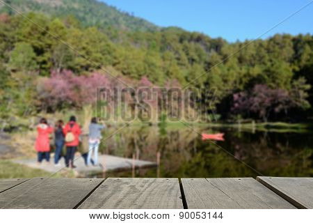Defocused And Blur Image Of Terrace Wood And Mountain And Brook