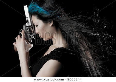 Asian Girl With Gun