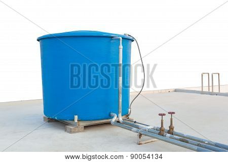 Blue Water Tank Of Industrial Building On Roof Top On White Background