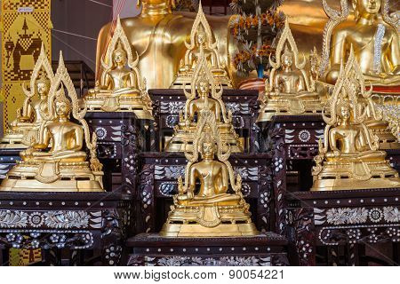Golden Buddha Statue Names Buddhachinaraj Sit On Layer Respectively, The Most Beautiful Buddha Image