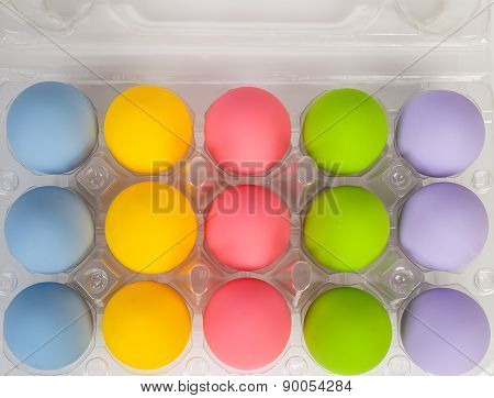 Colorful Of Eggs For Holiday Easter Festival On Plastic Package, Can Use As Background