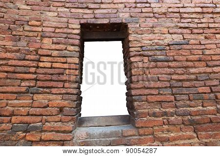 Red Old Brick Wall Texture With Niche White Background