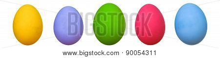 Colorful Of Eggs For Holiday Easter Festival Panorama On White Background