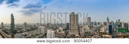 Business Building Bangkok City Area At Day Time With Transportation Car And Ship As Panorama, High A