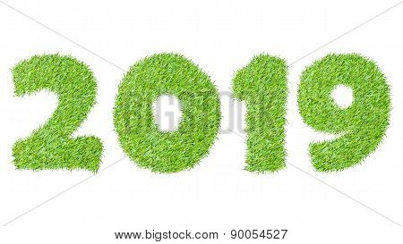 2019, New Year Made From The Green Grass, Isolated On White Can Use As Abstract Background