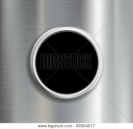 Round Button On A Metal Background.
