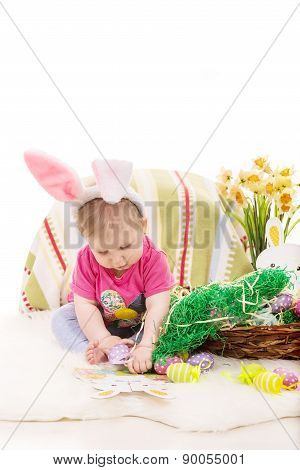 Baby Girl Playing With Easter Eggs