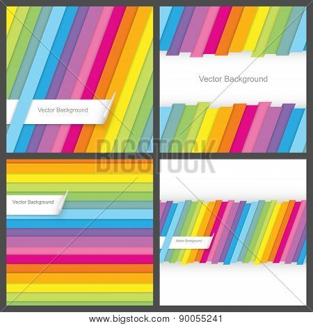 Set of colorful striped seamless backgrounds