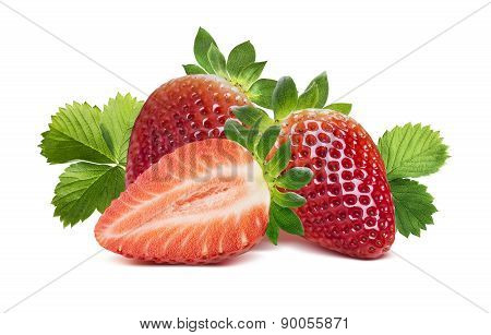 Two Strawberries, Half Berry And Leaves 2 Isolated On White