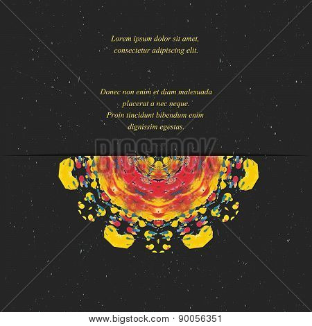 Template of card or flyer  with half colorful round ornament on the dark background