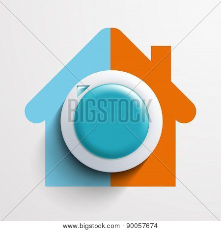 Round Thermostat For Temperature Control.