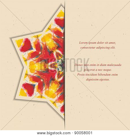 Template of card or flyer with colorful half star  ornament on the beige background