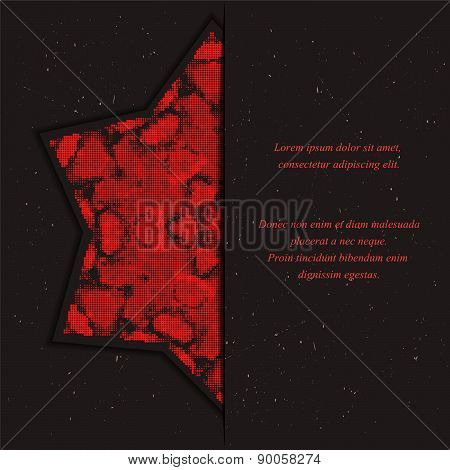 Template of card or flyer  with half star halftone effect  ornament on the dark background