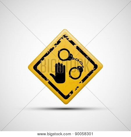 Sign Handcuffs And Palm.
