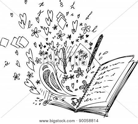 Open love book vector