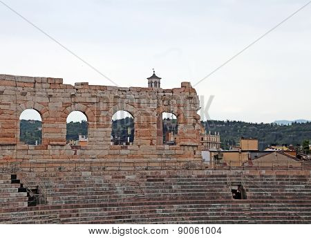 Wall Of Ancient Arena Di Verona And The Bleachers