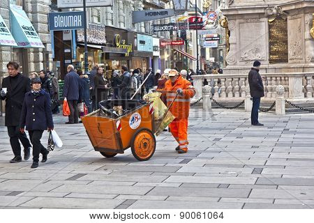 Man Cleaning The Street At  Graben In Vienna