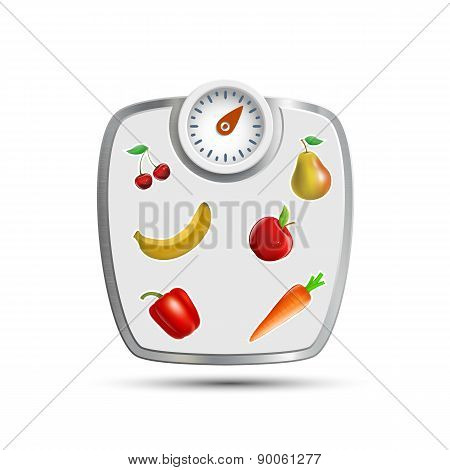 Scales For Weighing With Fruits And Vegetables.