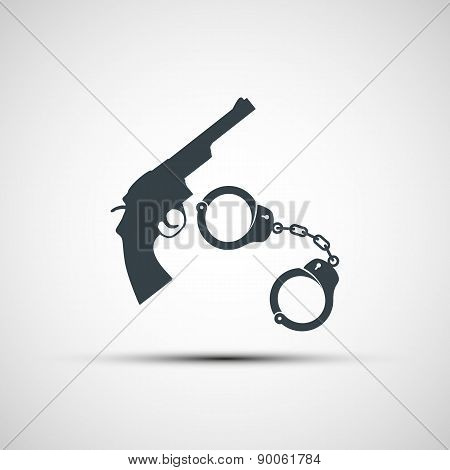 Gun And Handcuffs.
