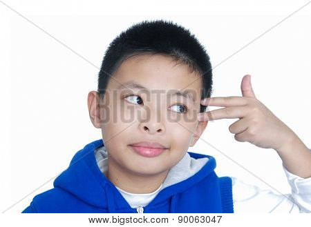 little boy with hand gesture on a over white background
