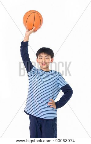 portrait of a child holding a ball in head isolated on white background
