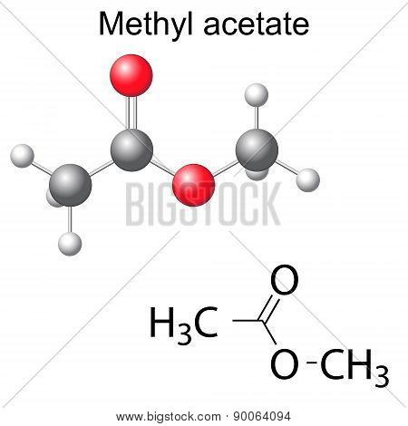 Structural Chemical Formula And Model Of Methyl Acetate