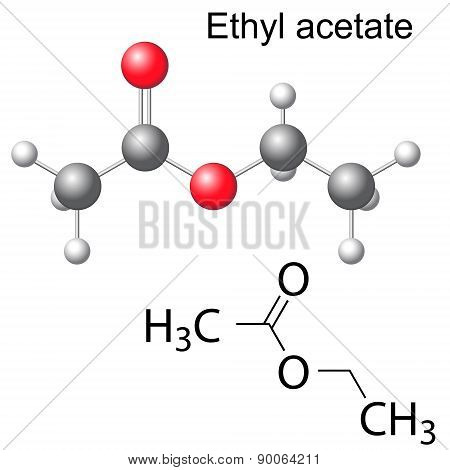 Structural Chemical Formula And Model Of Ethyl Acetate
